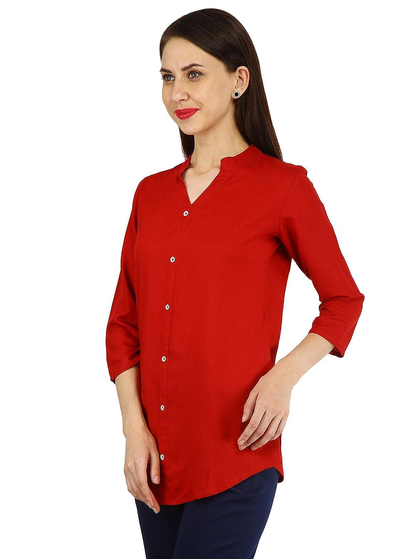 6b270243290cb6 CYNCA Pink Plain   Printed Rayon Shirt Style Stitched Tops Cotton  Kurti Kurta Kurtis for Women  Amazon.in  Clothing   Accessories