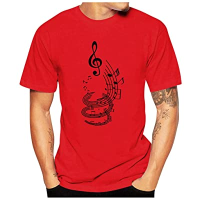 HDGTSA Men Casual Funny T-Shirt Musical Note Print Blouse O-Neck Short Sleeve Tees Tops