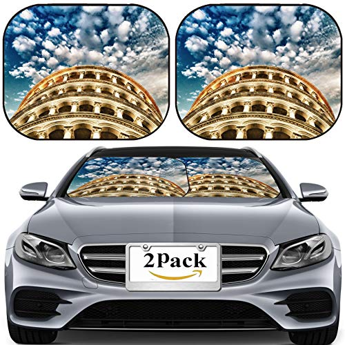MSD Car Sun Shade for Windshield Universal Fit 2 Pack Sunshade, Block Sun Glare, UV and Heat, Protect Car Interior, Image ID: 28522366 Leaning Tower of Pisa Tuscany Detail View of The top Under