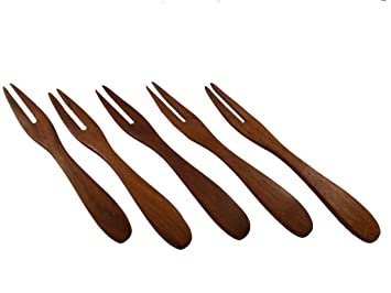 Lot 5 Madera de teca tenedor frutas postre tenedor de postre tenedor de ensalada Collection decorar: Amazon.es: Hogar