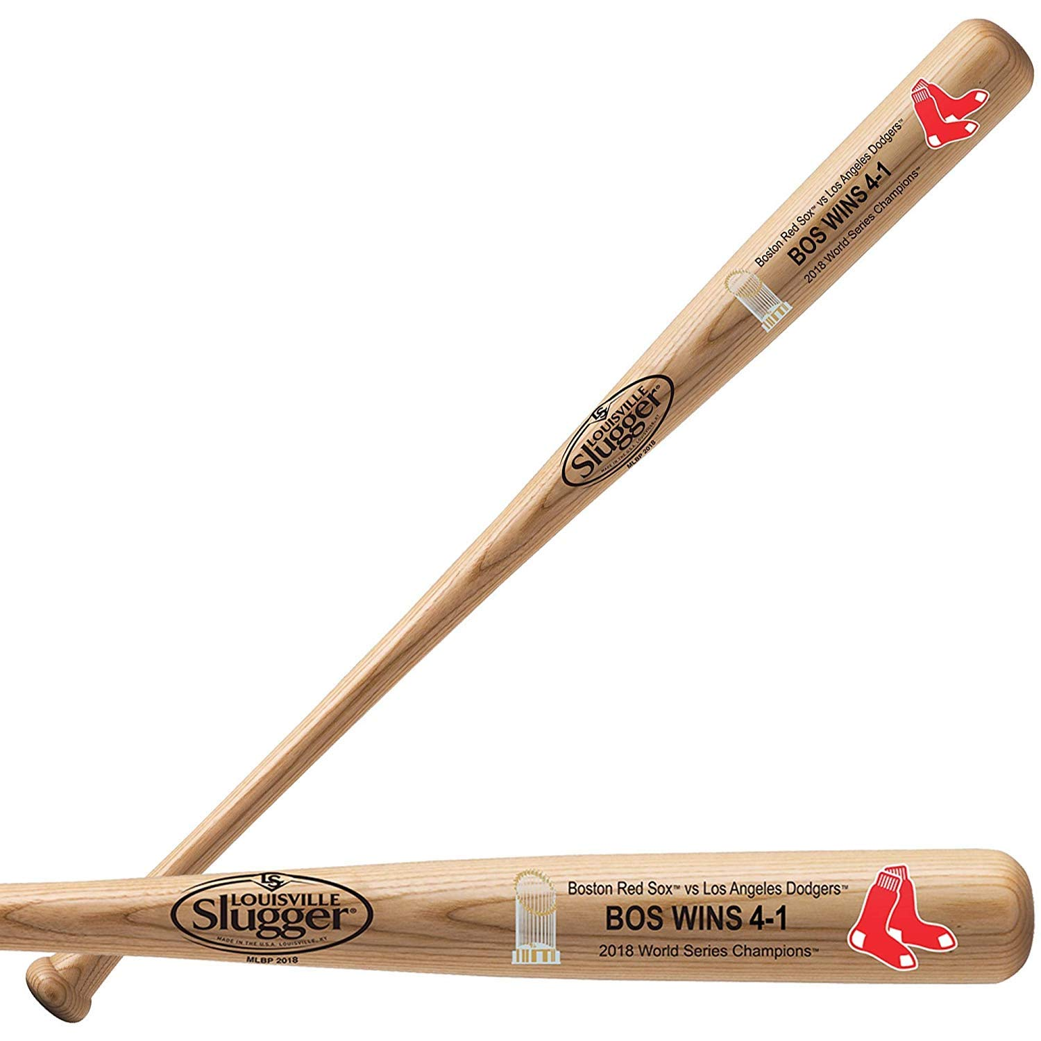 2018 Boston Red Sox World Series Champions Baseball Bat by Louisville Slugger 34' Natural Ash Wood