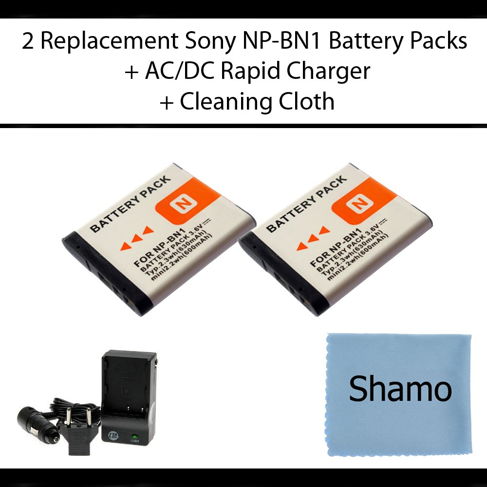 Accessory Kit For Sony Digital Cameras With 2 Battery Np Bn1 Replacement Extended Life Packs Cyber Shot Dsc Tx5 Tx7