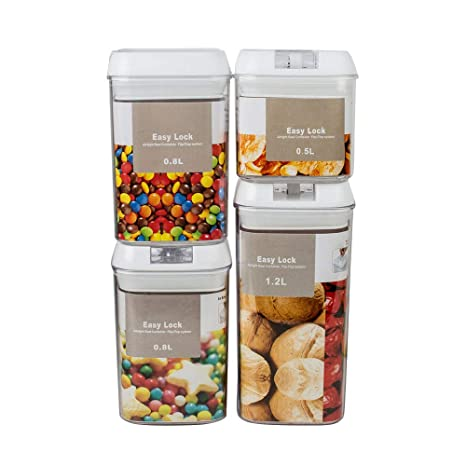 Pevor 4 Pack Airtight Dry Food Storage Container Set With White  Interchangeable Easy Lock Lids,