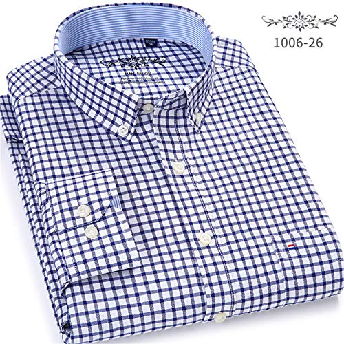 Men Shirt Long Sleeve Regular Fit Men Plaid Shirt Striped Shirts Men Dress Oxford Plaid Shirt 26 38 Asian Size S