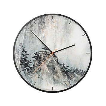 QWERDFEL Reloj de Pared Paisaje Reloj de Pared en Blanco y Negro Estilo Gris Estado de
