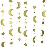 Mybbshower Moon and Stars Garland Gold Glitter Nursery Decoration 12 Feet
