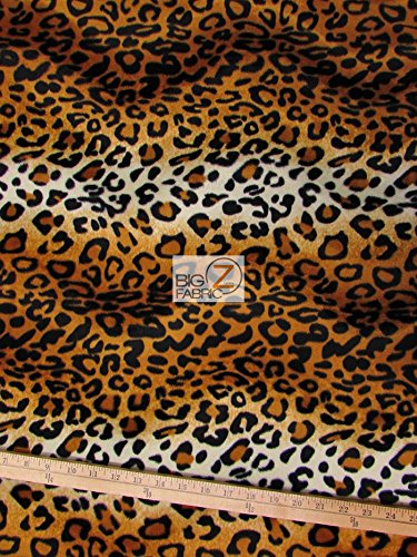 VELBOA FAUX FAKE FUR LEOPARD ANIMAL SHORT PILE FABRIC - Gold - 60