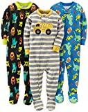 Simple Joys by Carter's Baby Boys' 3-Pack Snug-Fit Footed Cotton Pajamas, Monsters/Dino/Construction, 24