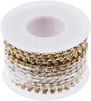 10yards//roll Clear Crystal SS6//12 Silver//gold Rhinestone Close Chain Cup Trims