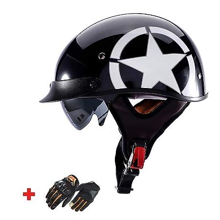 Casco Harley de Motocicleta de Cara Abierta Retro 4/3 ATV ...