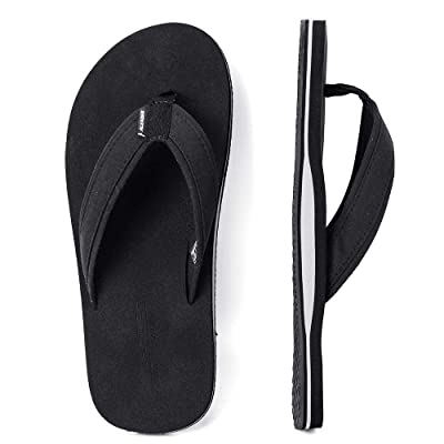 ALEADER Mens Flip Flops Arch Support Sandals for Beach, Casual, Outdoor & Indoor Black | Sandals