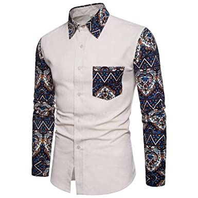 SanKidv-Bedrucktes Hemd Herren Shirt Slim Fit Langarm Casual-Taste Shirts  Formale Top Bluse Freizeithemd Männer  Amazon.de  Bekleidung 9e252c668a
