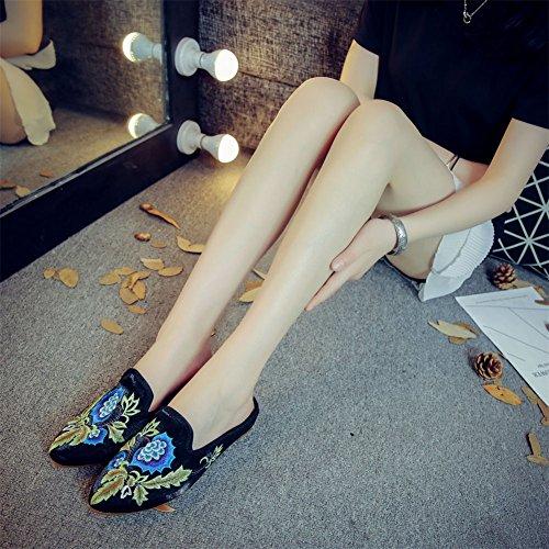 Velluto Pantofola Donna Scarpe Piatti Festa Morbide Suole black Muli Ricamato Da ZqxxEwaC