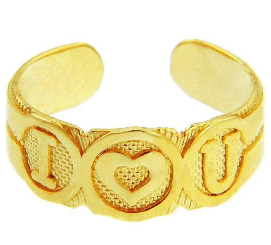 14k Gold ''I Heart U'' Toe Ring
