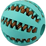 IQ Treat Ball for Dogs and Cats [Dental Treat][Anxiety Relief] Durable Non-Toxic Strong Tooth Cleaning Dog Feed Ball for Pet IQ Training/ Chewing/Playing, Dog Chew Toys (7cm, Blue)