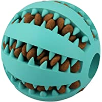 IQ Treat Ball for Dogs and Cats [Dental Treat][Anxiety Relief] Durable Non-Toxic Strong Tooth Cleaning Dog Feed Ball for Pet IQ Training/ Chewing/Playing, Dog Chew Toys (5cm, Blue)