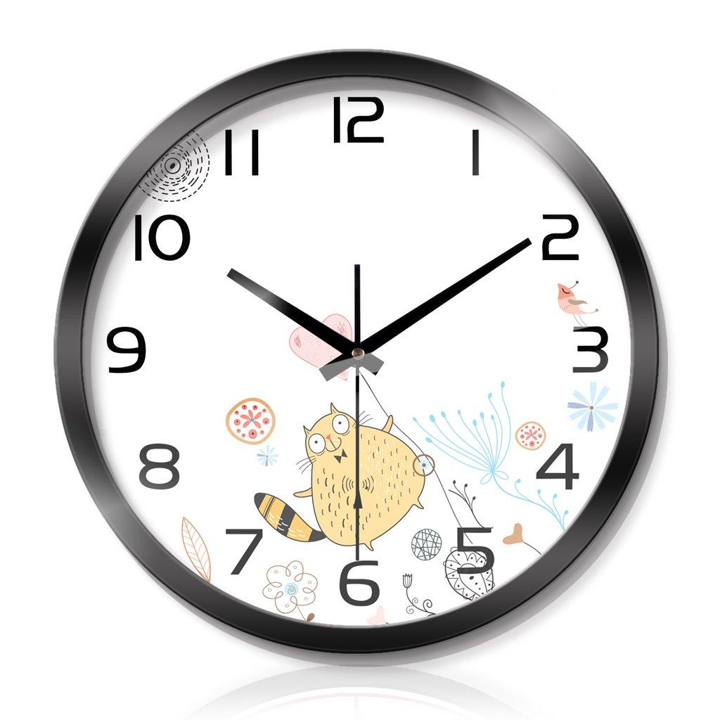 時計リビングルームベッドルームクリエイティブメタルウォールクロックウォールクロックサイレントスキャン3世代のスマートウェーブウォールクロック LCS (色 : Black, サイズ さいず : 14 inches) B07FCJ4F2XBlack 14 inches