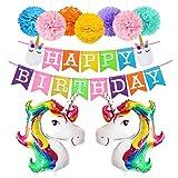 Unicorn Birthday Decorations Rainbow Balloons Happy Birthday Banner Paper Pom Pom Kit