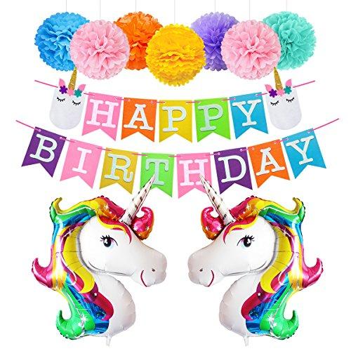 Unicorn Birthday Decorations Rainbow Balloons Happy Birthday Banner Paper Pom Pom Kit (Send Same Day Balloons)