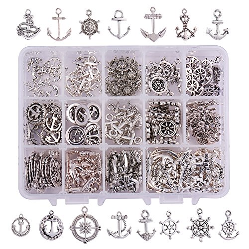 PH PandaHall 150pcs 15 Style Antique Silver Tibetan Alloy Anchor & Helm Charms Beads Charms for DIY Bracelet Necklace Jewelry Making