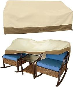 Vanteriam Outdoor 3 Pieces Patio Furniture Set Cover Waterproof 3 Pieces Rocking Set Cover, 3PC Patio Conversation Set Cover Size W66''x D36''x H30'' Beige & Brown