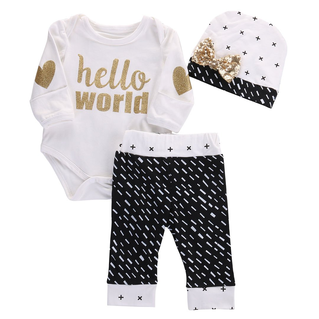 Newborn Baby Girl Boy Gold Hello World Top Romper+Pants Leggings Hat Outfits Set Aliven