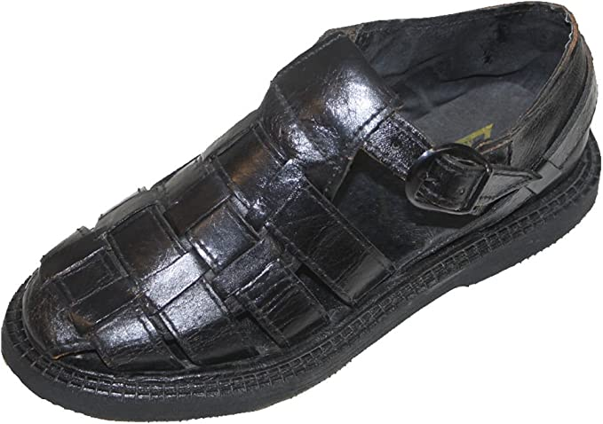 Men's Semi Closed Toe Huarache Sandals - MEXICAN HUARACHES - Leather Sandals