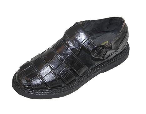 af2f0e6a1562 Men s Semi Closed Toe Huarache Sandals -- MEXICAN HUARACHES - Leather  Sandals Black 7