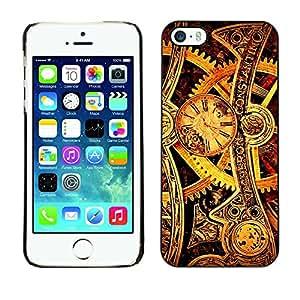 Qstar Arte & diseño plástico duro Fundas Cover Cubre Hard Case Cover para Apple iPhone 5 / iPhone 5S ( Time Mechanic Gold Wheels Gears Watch)