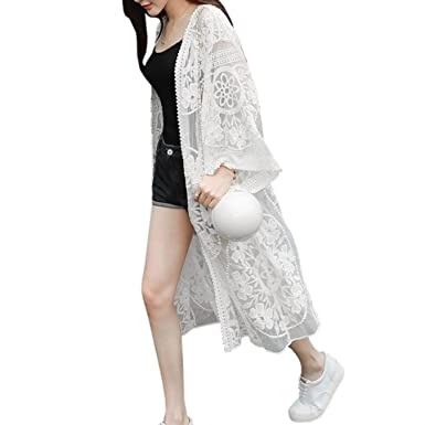 Hot Beach Blusas Summer Women Casual Crochet Long Kimono Cardigan Tops