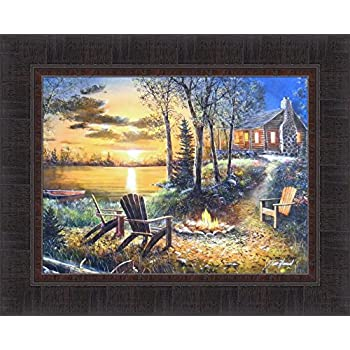 Amazon Com After Dark By Jim Hansel 17x21 Cabin Lake Boat