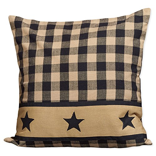 Black Check Plaid with Barn Star Band 16 x 16 Cotton Decorative Throw Pillow Checks Decorative Pillow