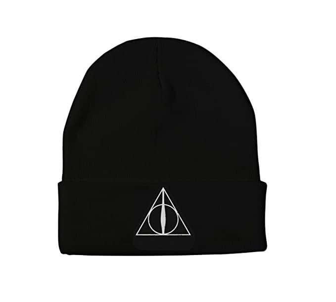 Amazon.com  HARRY POTTER Beanie Hat Deathly Hallows Logo Official ... 8f5f7f447584