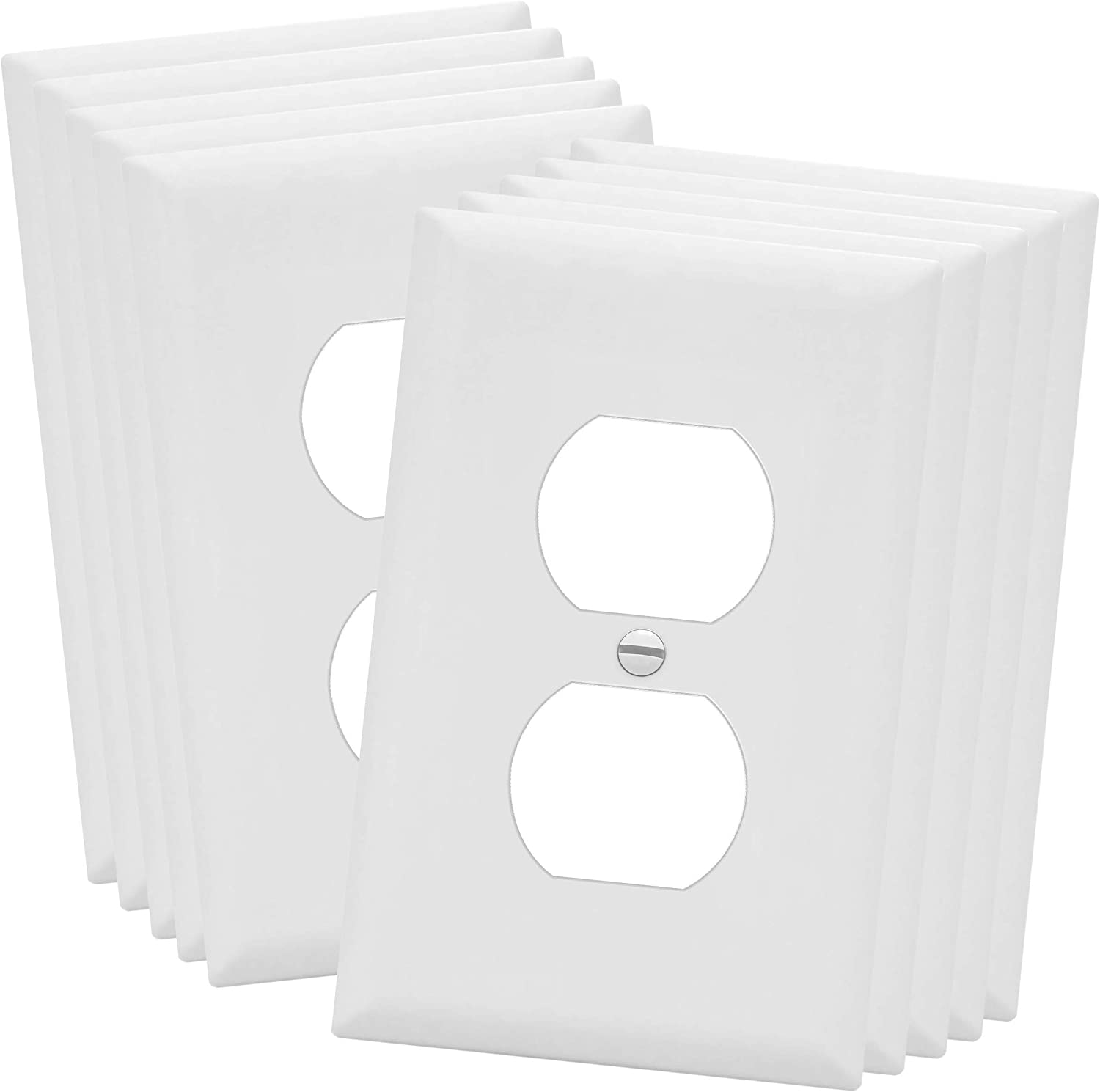 """ENERLITES Duplex Receptacle Outlet Wall Plate, Electrical Outlet Cover, Midway Size 1-Gang 4.88"""" x 3.11"""", Unbreakable Polycarbonate Thermoplastic, UL Listed, 8821M-W-10PCS, White (10 Pack)"""