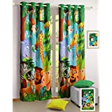 100 % Blackout Poly Satin Fabric Jungle Animals Door Curtains - Set of 2 Curtain Panels for a Baby Nursery or Toddler or Kids Bedroom - 48 inch x 84 inch panels