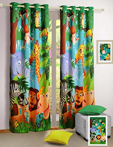 Jungle Animals Window Curtains - Set of 2 Curtain Panels for a Baby Nursery or Toddler or Kids Bedroom - 48'' x 60'' panels - 70% Blackout Poly Satin Fabric by ShalinIndia