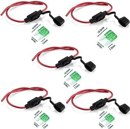 Qiorange 5 Set Sicherungshalter Kfz Lkw Flachsicherung Sicherung Halter Wasserdicht 30a Inkl 30a Sicherung 26 Cm Kabel Auto