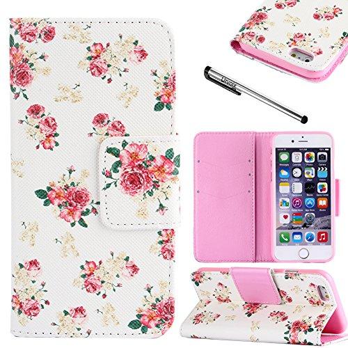 Custodia Per Apple iPhone 6 Plus/6S 4,7, motivo: fiori rossi Urvoix (TM), funzione supporto, a portafoglio, in pelle sintetica PU, con fondina, per iPhone 6/6 Plus (non per iPhone 6S)