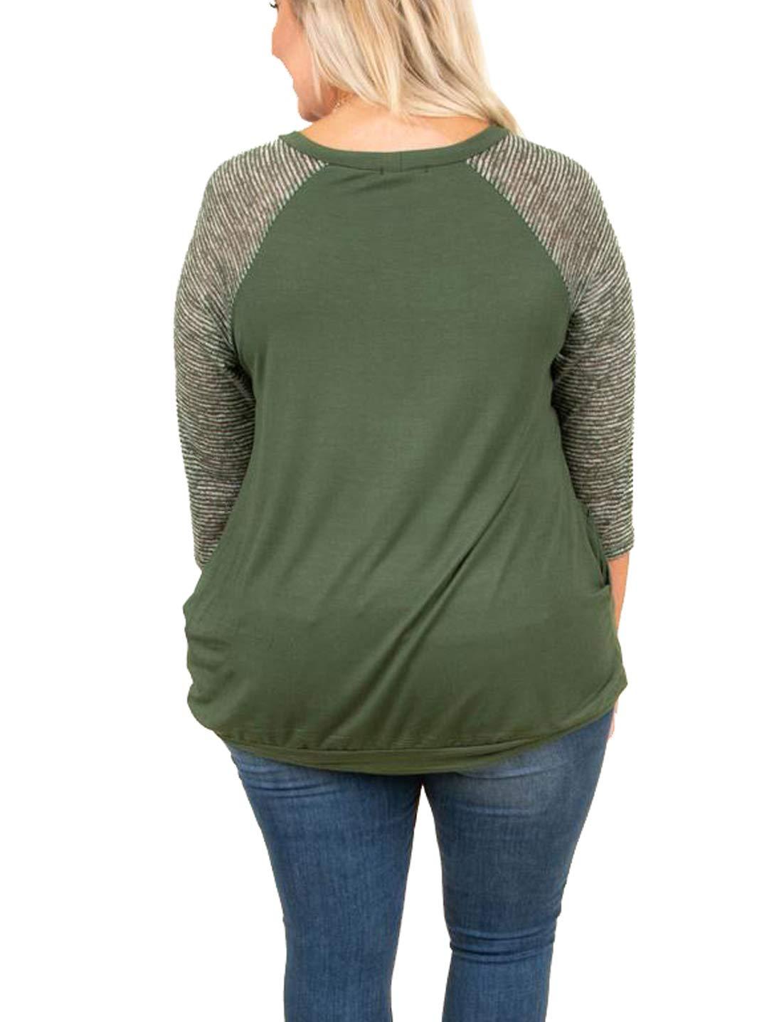 Rotita Women Raglan Sweatshirt Plus Size Striped 3/4 Sleeve Lightweight Casual Loose Pullover by Rotita (Image #2)
