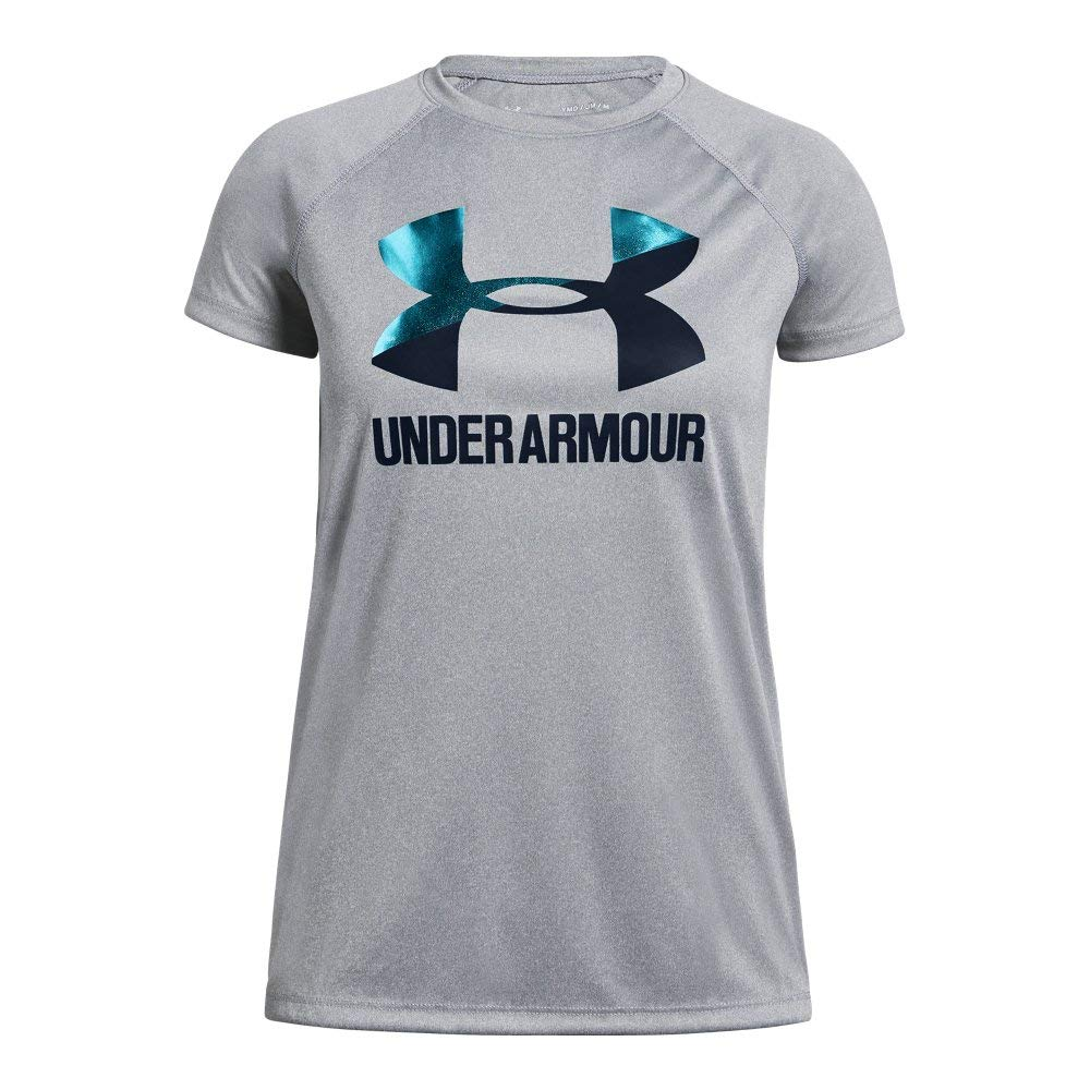 Under Armour girls Big Logo Solid Short Sleeve T-Shirt, Steel Light Heather (036)/Academy, Youth X-Small