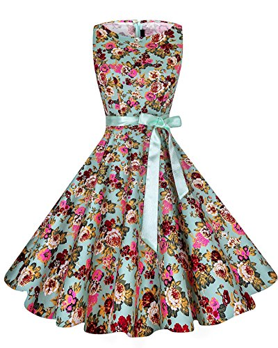 Retro 50s Vintage Floral Tea Swing Dresses for Spring Party With Ribbon - F28 (Floral Tea Party Dress)