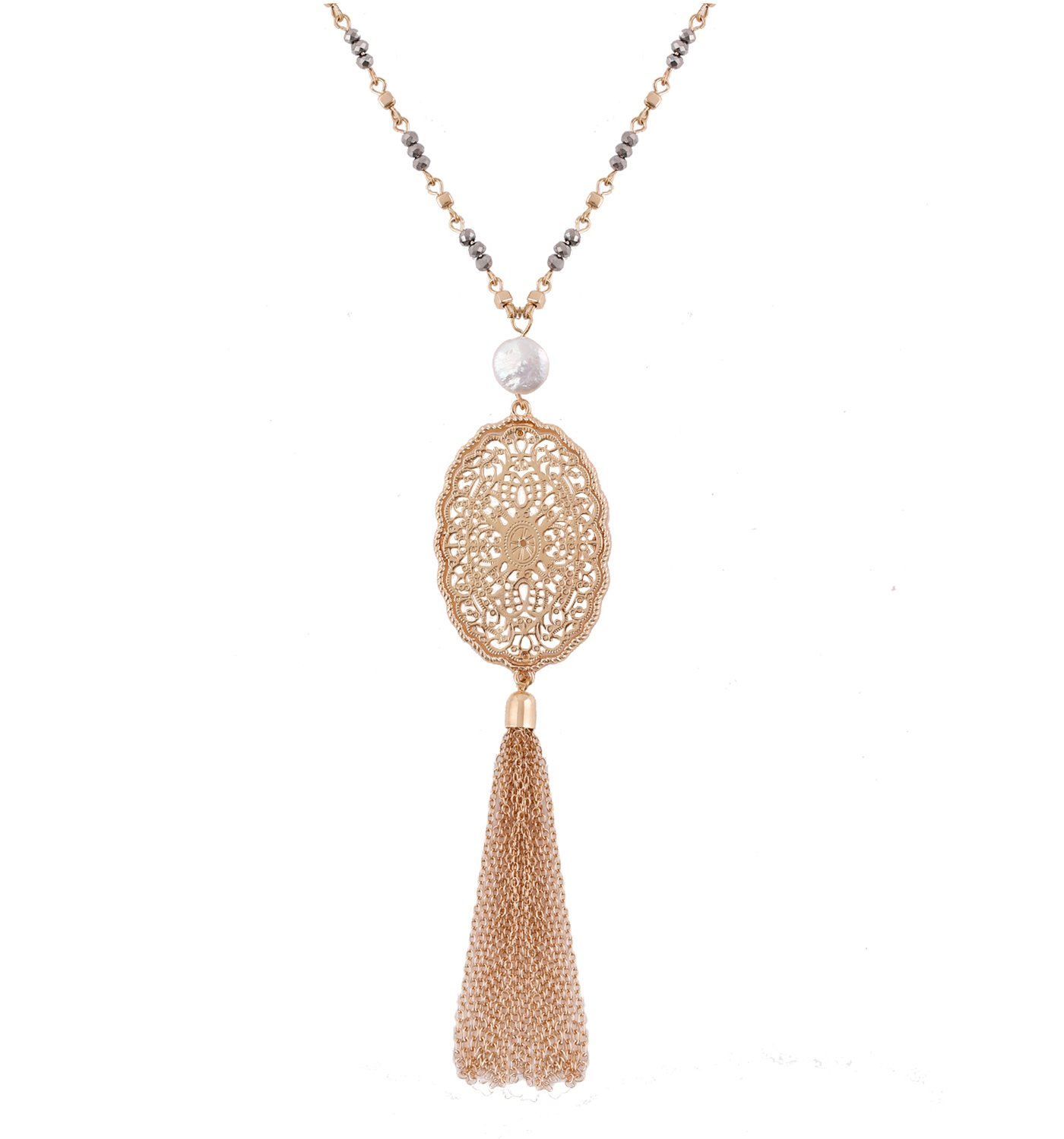 YEYA Bohemia Tassel Necklace Cute Filigree Oval Pendant Necklace Pearl Long Necklace For Women Girls Statement Jewelry (gold)