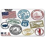 Memory Foam Bath Mat,United States,Grunge Stamps of America Las Vegas New York San Francisco Hawaii IllustrationPlush Wanderlust Bathroom Decor Mat Rug Carpet with Anti-Slip Backing,Multicolor