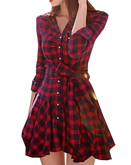 4dca29f8b8e3d4 Estivi Vestiti a Tunica Donna Fashion Benda Abito a Quadri Corto Abiti da  Vacanza Partito Cocktail Festa Sexy V Collo Manica Lunga con Bottoni Mini  Vestito: ...