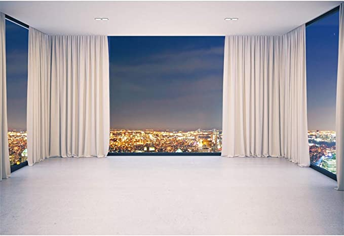 YEELE Office Photography Backdrop 12x8ft Window of City Conference Room Background Business Company Design Home Decoration Kids Adults Portrait Photo Studio Props Wallpaper