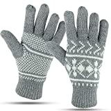 Winter Gloves For Women: Womens Warm Cold Weather Snow Glove: Women's Knit Thinsulate Thermal Insulation Light Grey