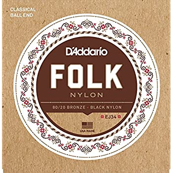 d 39 addario ej34 folk nylon guitar strings ball end 80 20 bronze black nylon trebles. Black Bedroom Furniture Sets. Home Design Ideas
