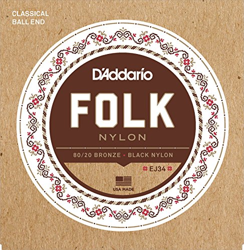 D'Addario EJ34 Folk Nylon Guitar Strings, Ball End, 80/20 Bronze/Black Nylon Trebles Daddario Nylon Folk Strings