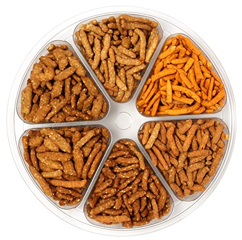Sincerely Nuts Sesame Stick Mix (6 Sectional) – Cajun, Garlic, Cheddar, Oat, Salted & Honey Roasted Variety Gift Tray – 100% Kosher Certified (Foods Sesame Sticks)