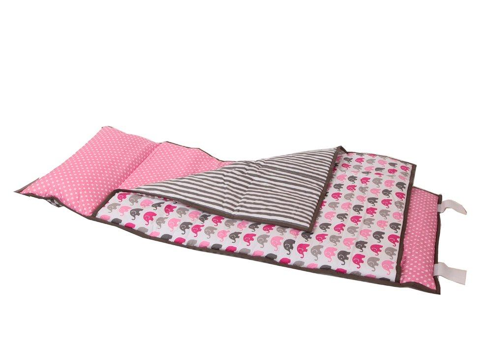 Bacati - Elephants Nap Mat (Pink/Grey)
